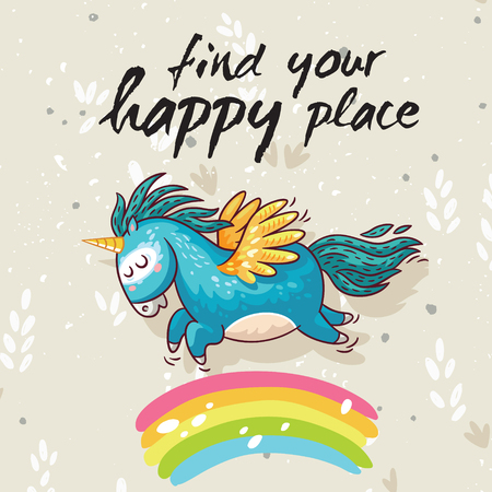 Vector card with unicorn, rainbow, stars, decor elements and text Find your happy place. This illustration can be used as a greeting card, poster or print