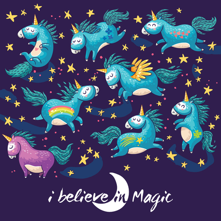 Vector card with unicorn, rainbow, stars, decor elements and text.