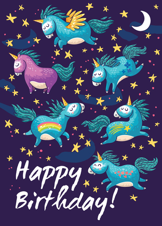 Vector card with unicorns, rainbow, stars, decor elements and text Happy Birthday.  This illustration can be used as a greeting card, poster or print