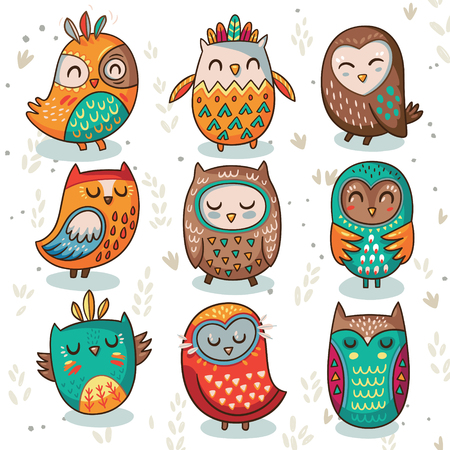 Cute indian hand drawn owl characters isolated on white background. Vector illustration