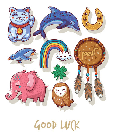 good luck charm: Lucky icons and design elements isolated on white background.