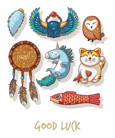 neko: Lucky icons and design elements isolated on white background. Collection of happy icons - maneki neko, owl, dreamcatcher, bug skoroby, unicorn, carp kite