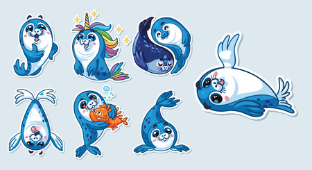 Collection of cute cartoon baby seal.