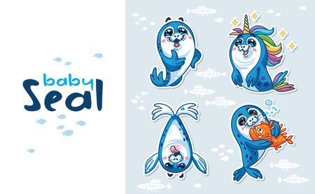 baby seal: Collection of cute cartoon baby seal. Harp Seal Pup Cartoon icon set. Vector illustration isolated on white