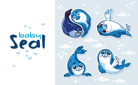 pup: Collection of cute cartoon baby seal. Harp Seal Pup Cartoon icon set. Vector illustration isolated on white
