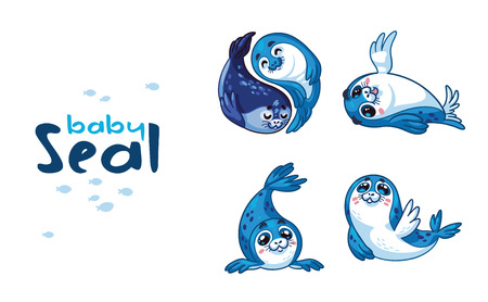 baby seal: Cute baby seal cartoon character set isolated on white background