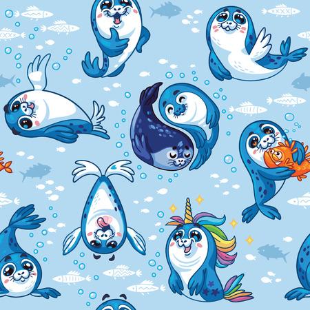 Harp Seal Pup Cartoon Vector illustration. Repeat background