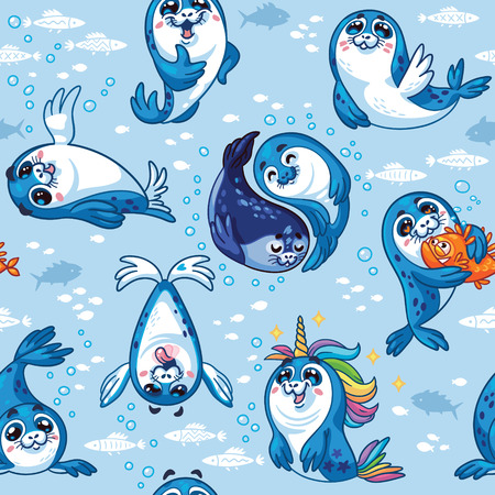 Harp Seal Pup Cartoon Vector illustration. Repeat background
