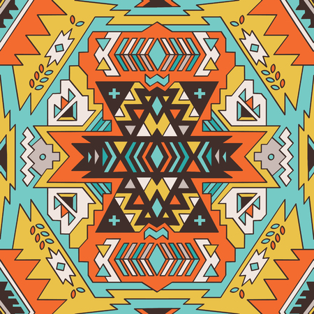native american baby: Abstract geometric seamless pattern. Aztec style pattern with triangle and line in green, brown and yellow colors