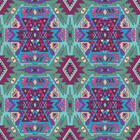 native american baby: Abstract geometric seamless pattern. Aztec style pattern with triangle and line in green, blue and violet colors Illustration