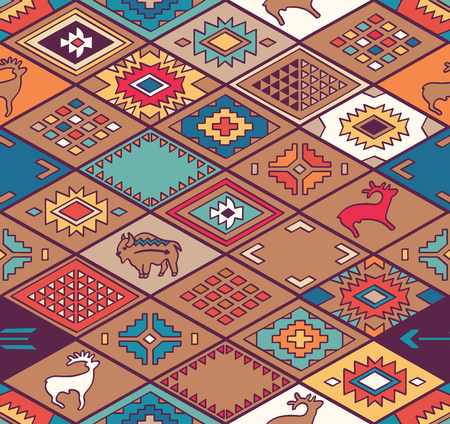 Navajo ornamental textile with rhombus. Ehnic print vector pattern background
