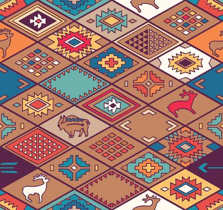 Navajo ornamental textile with rhombus. Ehnic print vector pattern background