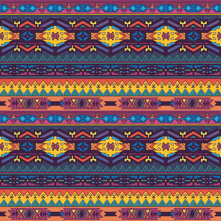 native american baby: Aztec geometric seamless pattern in bright colors.