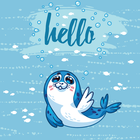baby seal: Hello. Cute cartoon baby seal welcomes you. Bright sea concept card with text in vector. Adorable animal image. Funny vector card