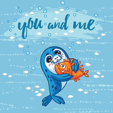 baby seal: You and me illustration. Cute cartoon baby seal hugs a fish. Bright sea concept card with text in vector. Adorable animal image. Funny vector card