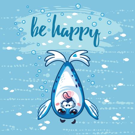 Seien Sie glücklich Illustration. Hell Meer Konzept Karte mit Text in Vektor. Entzückende Tierbild. Lustige Vektor-Karte mit glücklichen Baby-Siegel