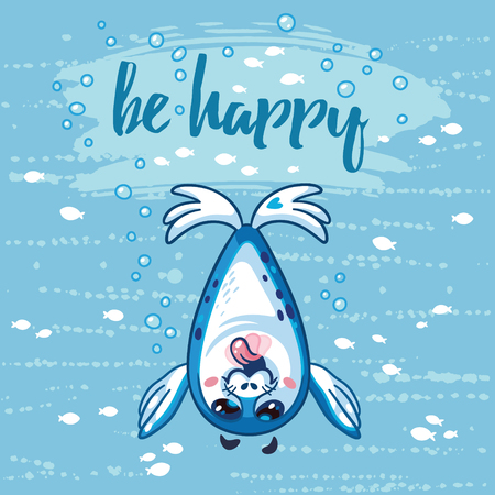 Be happy illustration. Bright sea concept card with text in vector. Adorable animal image. Funny vector card with happy baby seal