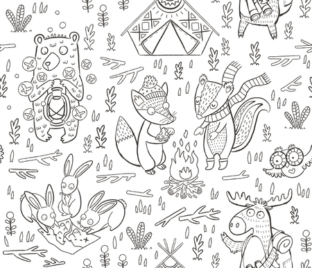 Cartoon seamless pattern. Cute childish illustration about camping in forest. Wild animals - moose, owl, fox, hare, deer and bear  イラスト・ベクター素材