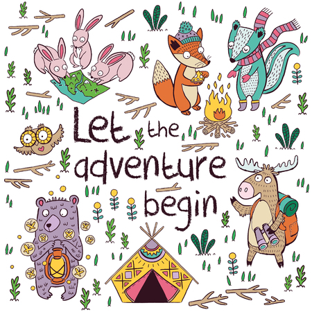 Let the adventure begin. Cute hand drawn illustration about camping in the forest.  Poster for children with moose, owl, fox, hare, deer and bear in cartoon style