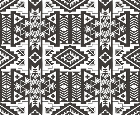 native american baby: Aztec geometric decorative seamless background. Monochrome abstract ethnic pattern.