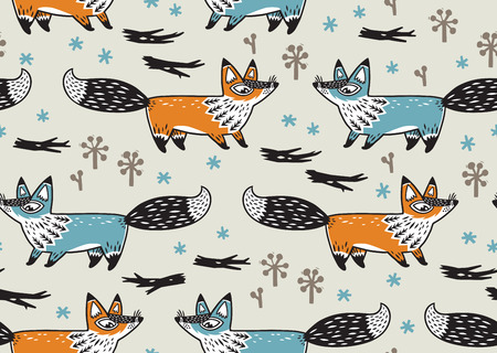 awesome wallpaper: Awesome childish background in vector with foxes. Used for wallpaper, greeting cards, posters and print invitations.