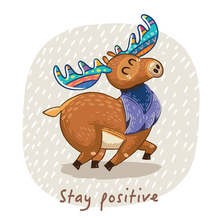 Hand drawn elk vector with colorful antlers. Awesome childish card with text in vector. Stay positive