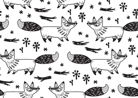 Awesome childish background in vector with foxes. Used for wallpaper, greeting cards, posters and print invitations.