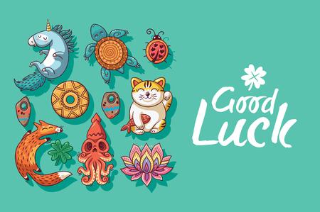maneki neko: Good Luck. Collection of happy icons - unicorn, turtle, ladybug, coin, foxes, clover, lotus, maneki neko. Lucky icons and design elements isolated on green background