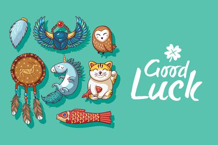 maneki: Good Luck. Collection of happy icons - maneki neko, owl, dreamcatcher, bug skoroby, unicorn, carp kite. Lucky icons and design elements isolated on green background