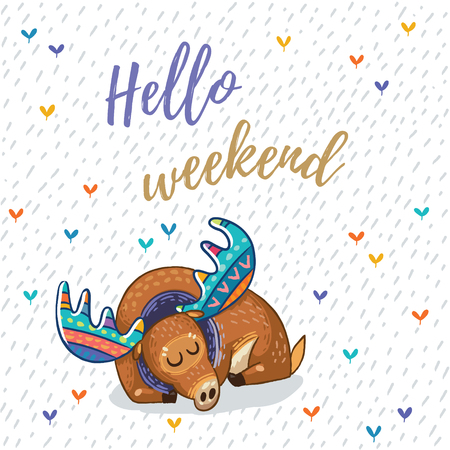 Hand drawn elk vector with colorful antlers. Awesome childish card with text in vector. Hello weekend Stock Illustratie