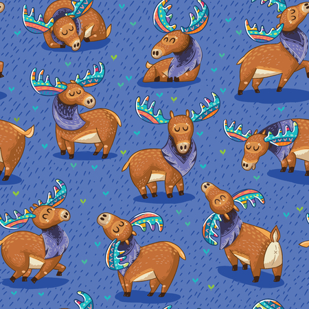 Seamless background with cute hand drawn mooses in cartoon style. Elks with rainbow antlers. Vector illustration pattern Vettoriali