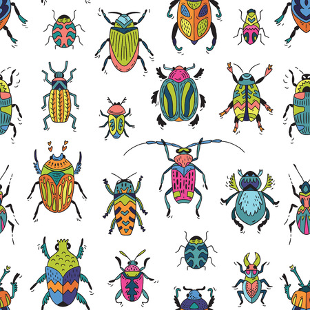 mantis: Cartoon insects in vector pattern. Funny bugs background Illustration