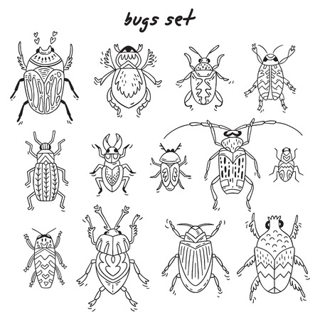 Set of cute little cartoon insects in doodle style. Funny bugs set. Funny insects in childish set