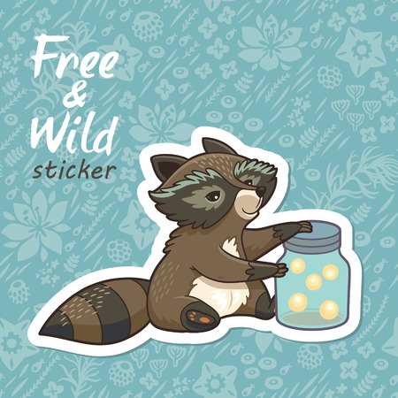 crickets: Sticker of cartoon cute character raccoon. Funny little raccoon collects crickets. Endless floral background. Free and Wild sticker. Vector illustration