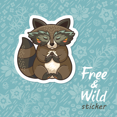 meditates: Sticker of cartoon cute character raccoon. Funny little raccoon meditates on the meadow. Endless floral background. Free and Wild sticker. Vector illustration