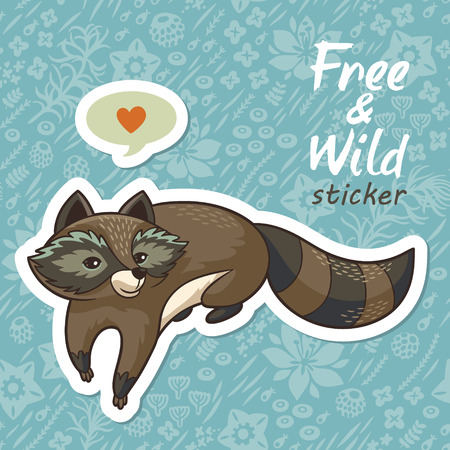wild meadow: Sticker of cartoon cute character raccoon. Funny little raccoon playing on the meadow. Endless floral background. Free and Wild sticker. Vector illustration