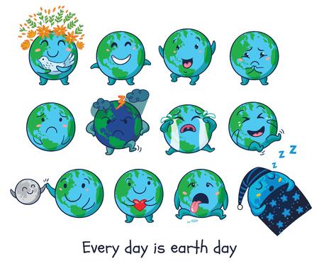Elke dag is de Dag van de Aarde. Earth planet globe met emoties op geïsoleerde witte achtergrond. Leuke cartoon Earth wereldbol met emoji set. vector illustratie