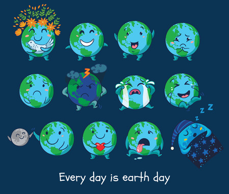 every day: Every day is Earth Day. Earth planet globe with emotions. Cute cartoon Earth globe with emoji set. Vector illustration