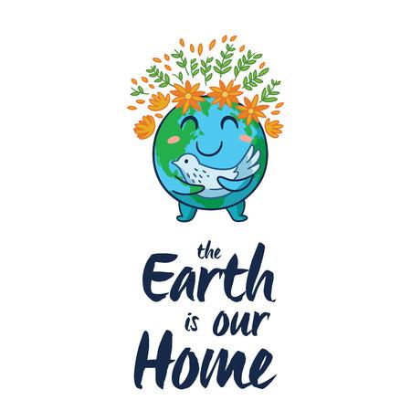 planeta tierra feliz: La Tierra es nuestro hogar. El planeta Tierra feliz blanco con el símbolo de la paloma de la paz sobre fondo blanco aislado. Tierra mundo de dibujos animados lindo con emoji. ilustración vectorial tarjeta