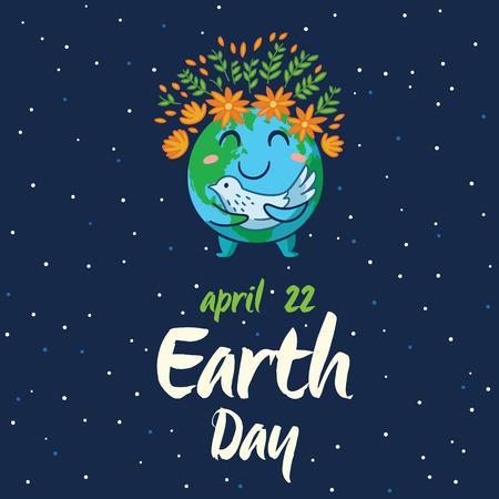 planeta tierra feliz: Día de la Tierra. El planeta Tierra feliz blanco con el símbolo de la paloma de la paz en aislados fondo azul oscuro. Tierra mundo de dibujos animados lindo con emoji. ilustración vectorial tarjeta Vectores