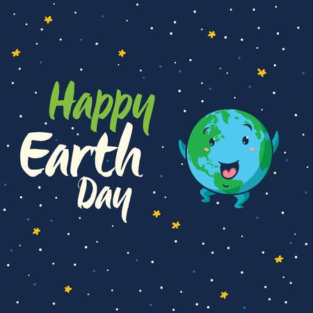 planeta tierra feliz: Feliz día de la Tierra. Feliz mundo, el planeta Tierra en el fondo aislado azul oscuro. Tierra mundo de dibujos animados lindo con emoji feliz. ilustración vectorial tarjeta Vectores