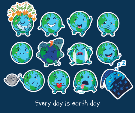 every day: Every day is Earth Day. Earth planet globe stickers with emotions on isolated dark blue background. Cute cartoon Earth globe with emoji set. Vector illustration Illustration