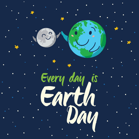 happy planet earth: Cada d�a es D�a de la Tierra. Feliz planeta Tierra m�ximo de cinco con la luna. Tierra mundo de dibujos animados lindo con emoji. ilustraci�n vectorial tarjeta