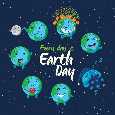 every day: Every day is Earth Day. Card of cute cartoon globes with different emotions. Cute cartoon Earth globe with emoji set. Vector illustration