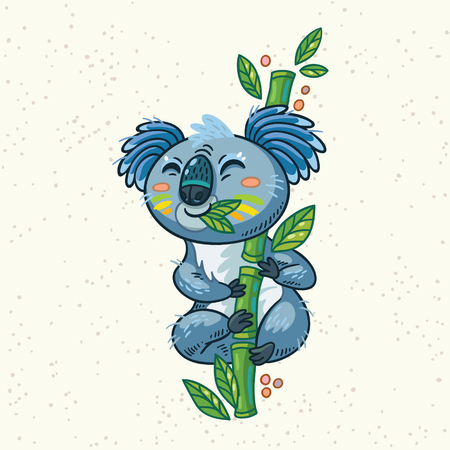 eats: Australian Koala Bear eats eucalyptus. Vector kid illustration. Art print Illustration