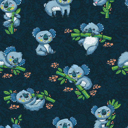 Adorable seamless pattern with cute koalas in cartoon. Ideal for cards, wallpapers, invitations, party, banners and children room decoration Çizim