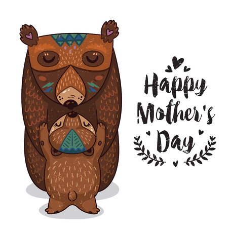 animals together: Happy mothers day card in cartoon style with bears. Greeting card for mom with cute animals. Baby and mother together. Vector illustration.