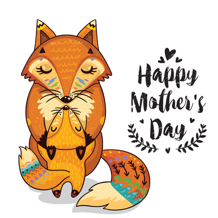 Happy mothers day card in cartoon style with foxes. Greeting card for mom with cute animals. Baby and mother together. Vector illustration.
