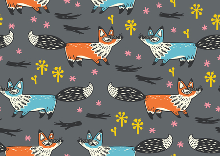childish: Awesome childish hand drawn background in vector with foxes. Used for wallpaper, greeting cards, posters and print invitations. Illustration