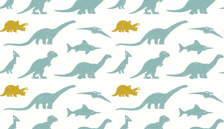 dinosaurus: Vector set silhouettes of dinosaur on white background. Modern design in pastel colors. Ideal for cards, invitations, party, banners, kindergarten, textile, wallpaper